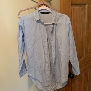 Zara button up shirt with pearl detail